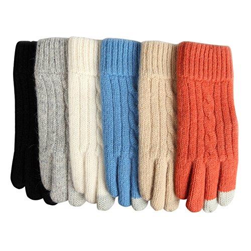 Elma Womens Touchscreen Wool Knitted Winter Gloves Mitten for Iphone Ipad Smart Phone
