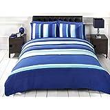 ensemble housse de couette rayure bleu soho taille simple linge de lit chambre. Black Bedroom Furniture Sets. Home Design Ideas