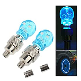 {Factory Direct Sale} A Pair of Skull Flashing LED Valve Cap Light Wheel Tyre Lamp Bulb For Car Vehicle Auto Trucks Motorcycle Bike