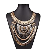 QIYUNZ-TM-Funky-Ethnic-Tribal-Colorful-Multiple-Chain-Bib-Choker-Statement-Collar-Necklace