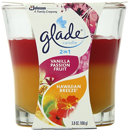 Glade 2 in 1 Jar Candle Vanilla Passion Fruit and Hawaiian Breeze, 3 Count