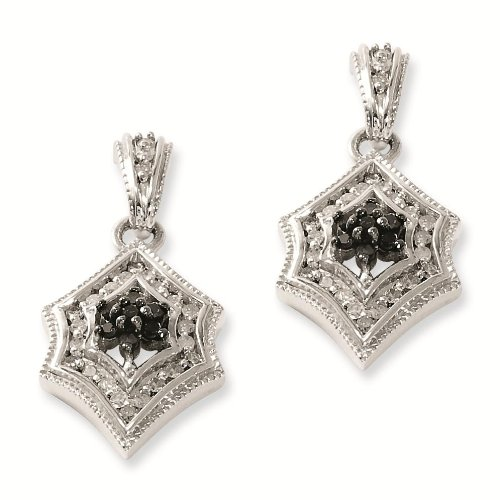 Sterling Silver Black & White Genuine Diamond Earring