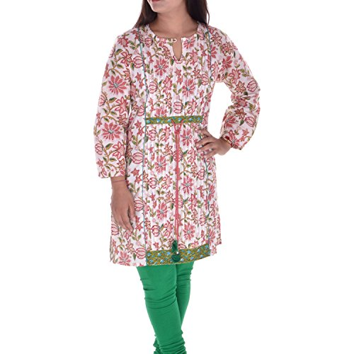 Tassels Abhipriya 100%Cotton Cream,Pink& Green 3\/4 Sleeve Kurti With Tassels Dori (Multicolor)