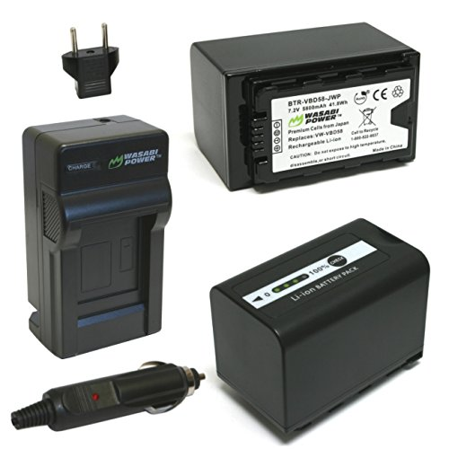 Wasabi Power Battery (2-Pack, 5800mAh) and Charger for Panasonic VW-VBD58 and Panasonic AG-3DA1, AG-AC8, AG-DVC30, AG-DVX100, AG-HPX171, AG-HPX250, AG-HPX255, AG-HVX201, AJ-PCS060, AJ-PX270, AJ-PX298, HC-MDH2, HC-X1000, HDC-Z10000