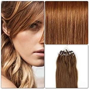 100 EXTENSIONS DE CHEVEUX NATURELS 60CM POSE A FROID EASY LOOP CHATAIN CLAIR #8