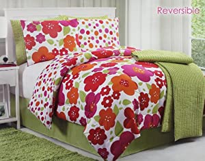 7 Pc Pink and Sage Floral Reversible Comforter/quilt Set/bed in a Bag/queen Size Bedding By Plush C Collection