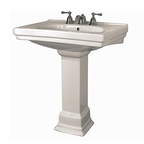 Structure Vitreous China Pedestal Bathroom Basin Combo in Biscuit