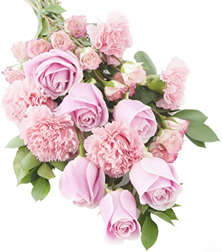 Pretty in Pink (Rose and Carnation) Bouquet -With Vase