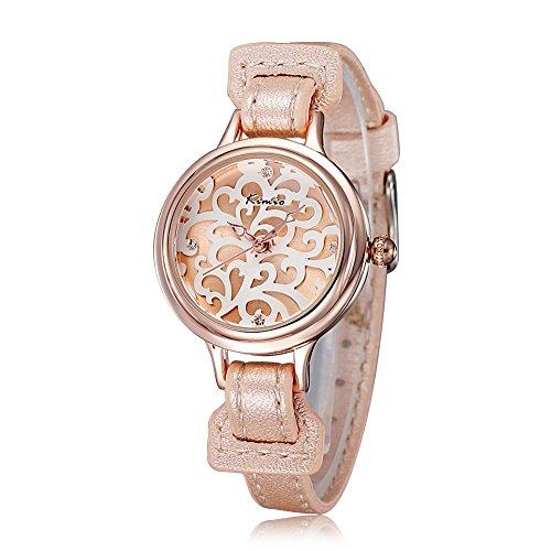 Ladies Leather Bracelet Watch Rhinestone Shell Dial Women Dress Watch Wristwatches(Rose Gold)