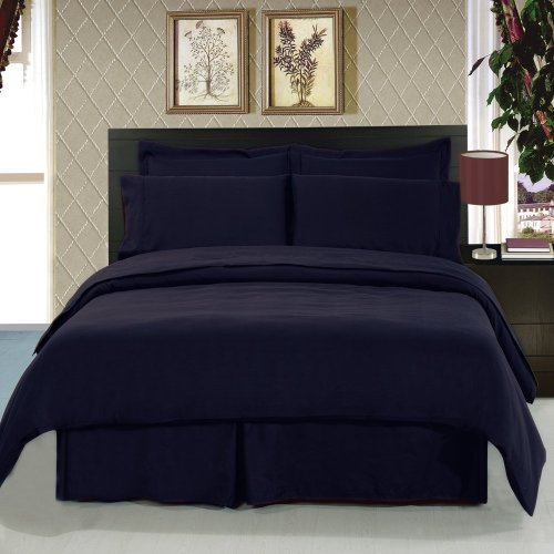 King Size Microfiber WaterBed Sheets With Pole Attachments (Navy Blue) (King Size Waterbed Sheet Sets compare prices)