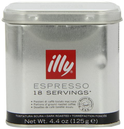 illy Tin of 18 Dark Roast Ground Coffee Servings (Pack of 2, Total 36 Pods)