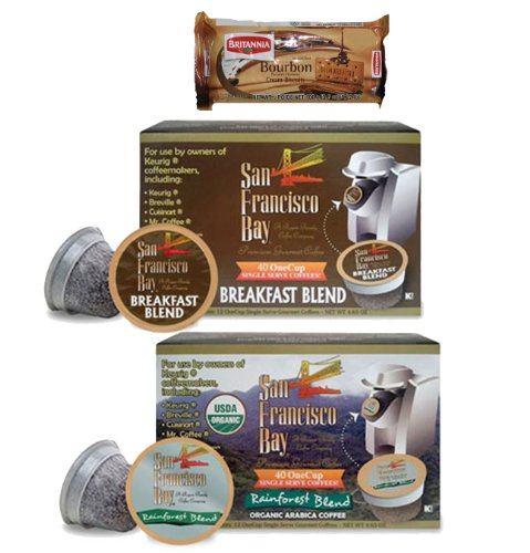 San Francisco Bay Coffee Breakfast Blend (40 cups) and Rainforest Blend (40 cups) OneCups for Keurig K-Cup Brewers + FREE BONUS Biscuits