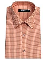ARANY'S Premium Peach With White Checks Slim Fit Formal Shirt For Men - F7462, SIZE-42