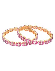 Creation Jewellery Gold Rhodium Plated Gold Plated Bangle Set For Women - B00Z9T54K8