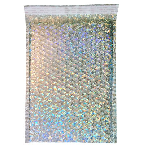 25 9 x 12 Holographic Padded Shipping Envelopes - Bubble Poly Mailers - Tamper Proof Self Sealing Adhesive Flap - Moisture / Tear Resistant - Lightweight Cushioned Bags (Tamper Resistant Sticker compare prices)