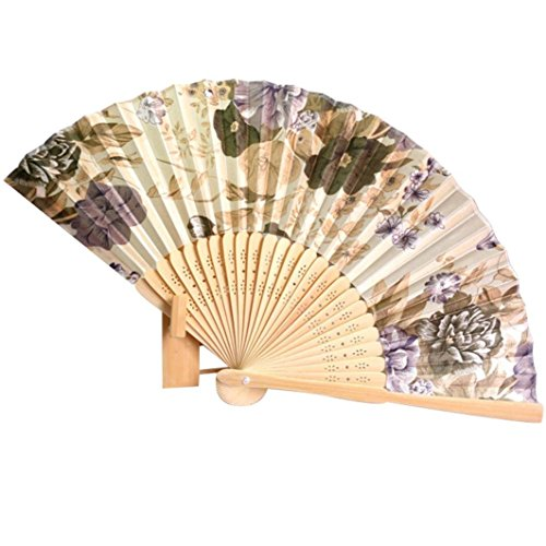Binmer(TM) Japanese Cherry Blossom Folding Hand Dancing Wedding Party Decor Fan Chinese Fans (Beige)