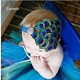 Pandahall Elastic Girl Headband Baby Headdress Dyed Peacock Feather Hairband