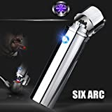 Triple Arc Plasma Lighter USB Rechargeable Windproof Butane Free Plasma Electric Lighter for Cigar,Pipes,Candles,Cigarette (Silver)