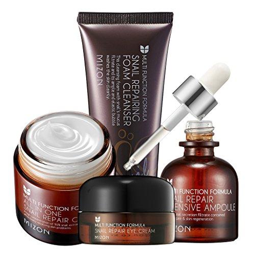 [MIZON] Snail Repair Skin Care Pack of 4 Foam Cleanser 60ml + Intensive Ampoule 30ml + Eye Cream 25ml + All In One Cream 75ml