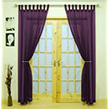 "Woven Voile Tab Top Panel. Buy One Panel Get One Panel Free. Finished in Purple. 58"" Wide x 90"" Drop.by The Textile House"