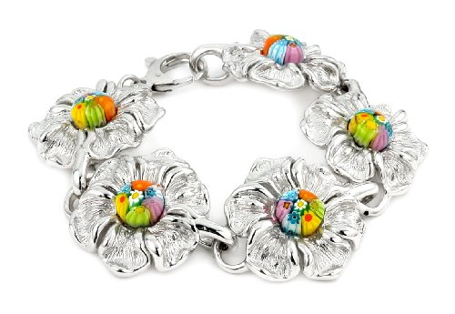 Multi Color Millefiori Electroform Ladys Large Flower Bracelet 7.75''