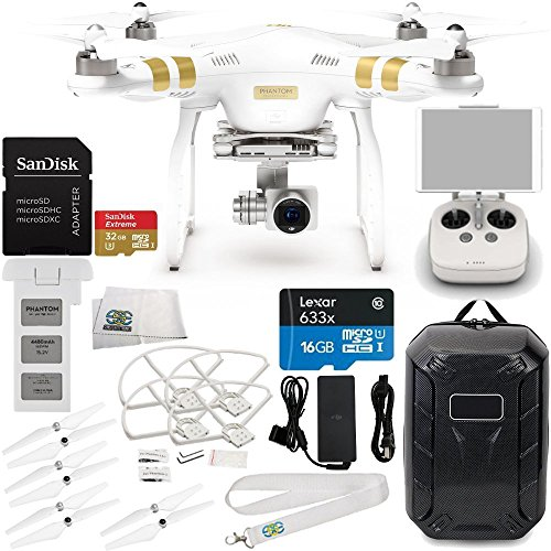 DJI Phantom 3 Professional Quadcopter w/ 4K Camera, 3-Axis Gimbal & Manufacturer Accessories + DJI Propeller Set + Water-Resistant Hardshell Backpack + Quick-Release Snap On/Off Prop Guards + MORE