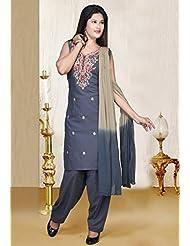Utsav Fashion Women's Grey Poly Cotton Readymade Salwar Kameez-Small