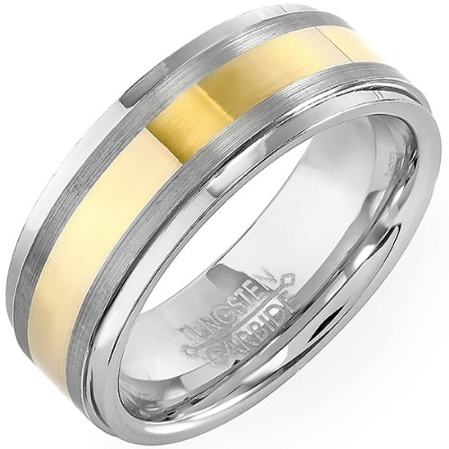 Tungsten Carbide Men's Ladies Unisex Ring Wedding Band 8MM (5/16 inch) Two Tone Gold Finish Comfort Fit (Available in Sizes 8 to 12) size 11