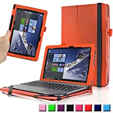 "buy Asus Transformer Book T100Ha Case, Infiland Premium Pu Leather Keyboard Portfolio Stand Cover Case For Asus Transformer Book T100Ha 10.1"" Laptop (2015 New Released Only)- Orange"