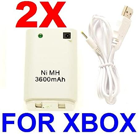 2X Rechargeable Controller Battery Pack for XBOX 360 - 3600mAH