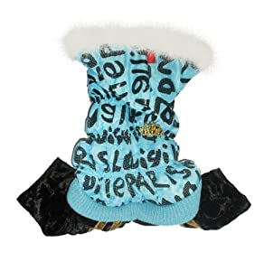 Evergreens Pet Dogs Winter Coat With Small Decoration (Blue, S)