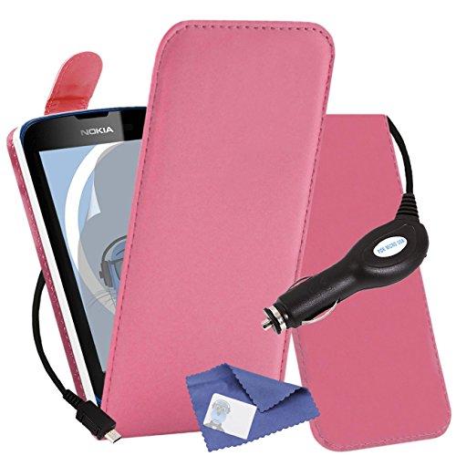 iTALKonline Nokia Lumia 610 Rosa PU Leder Exekutive MultiFunktions vertikaler Schlag Mappen Kasten Abdeckung Veranstalter, LCD Schutzfolie und 1000 mAh Coiled KFZ Ladegerät LED Anzeige und Überlastschutz