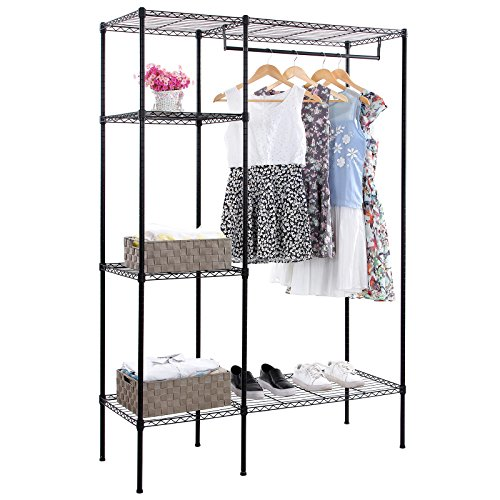 SONGMICS Shelving Garment Rack Heavy Duty Clothes Closet with Adjustable Shelves and Hanging Bar ULGR12P (Steel Freestanding Shelving compare prices)