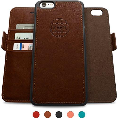 Dreem iPhone 6/6s Plus Case with Detachable Wallet Folio, 2 Kickstands, Gift Box, Premium Vegan Leather, Fibonacci Series, Dark Brown