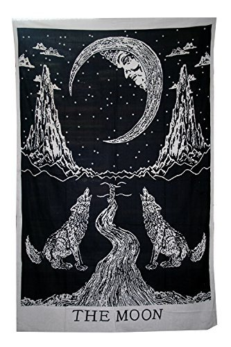 Crying-Wolf-of-The-Moon-Tapestry-wall-hanging-Bohemian-Bed-Sheet-Ethnic-Wall-Art