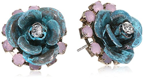 "Betsey Johnson ""Patina"" Flower Stud Earrings front-949962"