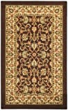 Rubber Back Brown Traditional Floral Non-Slip (Non-Skid) Door Mat Rug 18