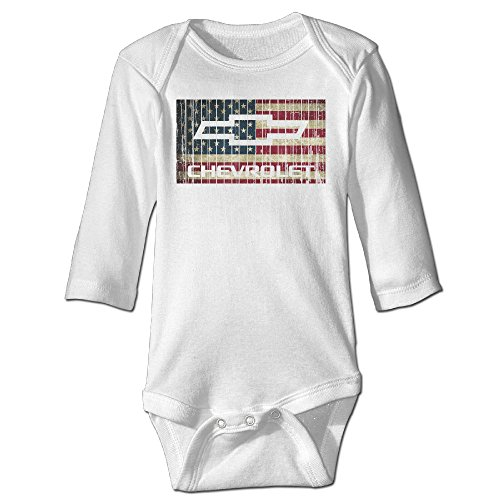 [Raymond Chevy Chevrolet With American Flag Long Sleeve Romper Bodysuit Outfits White 24 Months] (Brad Pitt Costume Ideas)