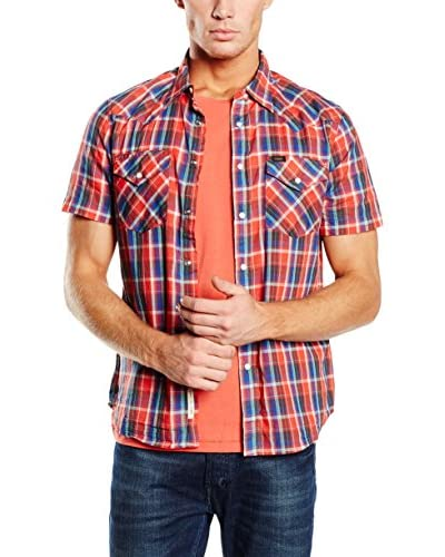 Lee Camisa Hombre Western Ss Lava Rojo / Azul