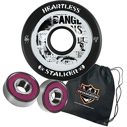 Heartless Quad Speed Skate Roller Derby Wheels Stalker 62mm 8pk Moto Deluxe Bearings, and Devaskation Drawstring Bag 3PC Bundle Color: Midnight 88A Size: 62mm 8pk Model: (Heartless Wheels compare prices)