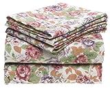 Melrose Home Floral Rose 150 GSM Heavy Cotton Flannel Sheet Set, Queen