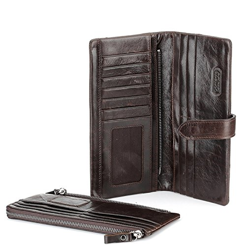 Contacts Men's Genuine Leather Cowhide Long Two Fold Wallet Brown Color