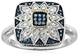 Sterling Silver and 14kt Gold Square Shape Blue Diamond Art Deco Ring (1/7 cttw), Size 7