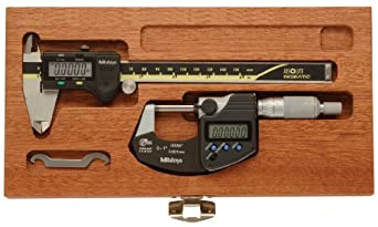 "Mitutoyo 64PKA076BCAL Digimatic Tool Kit with Calibration, 0-1""/0-25 mm Range Digimatic Ratchet Micrometer, 0-6""/0-150 mm Range Digimatic Caliper, Mahogany Case"