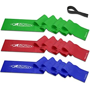 Aylio 3 Flat Stretch Bands Exercise Set  and Door Anchor