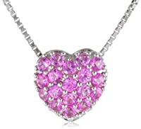 "Sterling Silver and Created Pink Sapphire Heart Pendant Necklace, 18"" from The Aaron Group - HK DI"