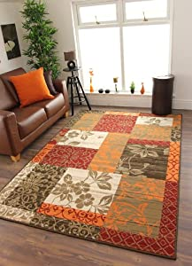 Milan Brown, Red, Orange, Beige & Cream Patchwork Rug 1568-S22 - 5 Sizes by The Rug House