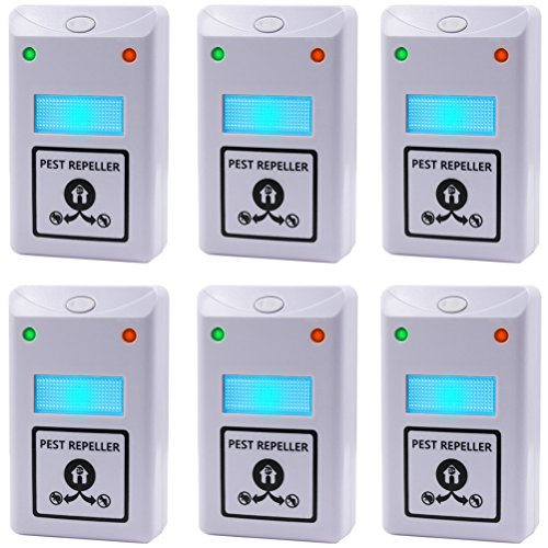 6PCS Pest Control, Latest Dual Wave Bands Koocat Ultrasonic Pest Repeller Repellent Repels Rodents, Rats, Mice, Squirrels, Insects, Bugs, Spiders, Cockroaches, Flies, Ants [Free Night Light] (Electronic Rodent Deterrent compare prices)