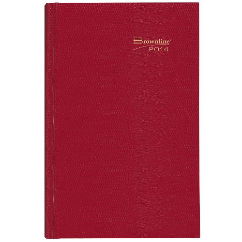 Brownline 2014 Daily Appointment Book, Hard Cover, Red, 10 x 7.875 Inches (C550.Red)