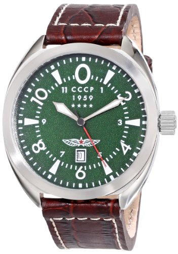 CCCP Men's CP-7014-01 Aviator YAK-15 Stainless Steel Watch with Brown Leather Band